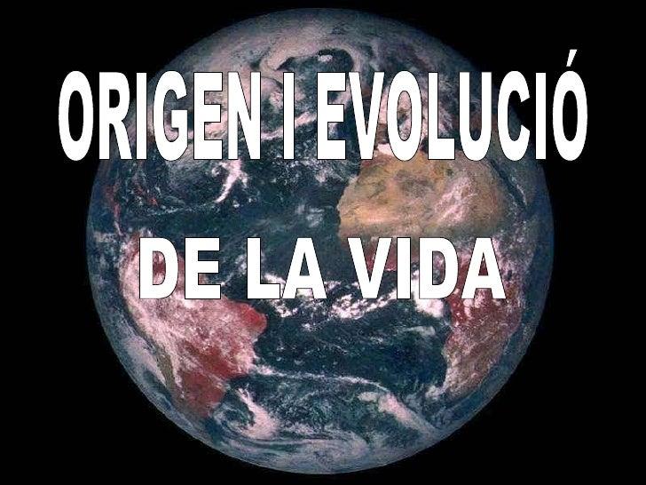 ORIGEN I EVOLUCIÓ DE LA VIDA