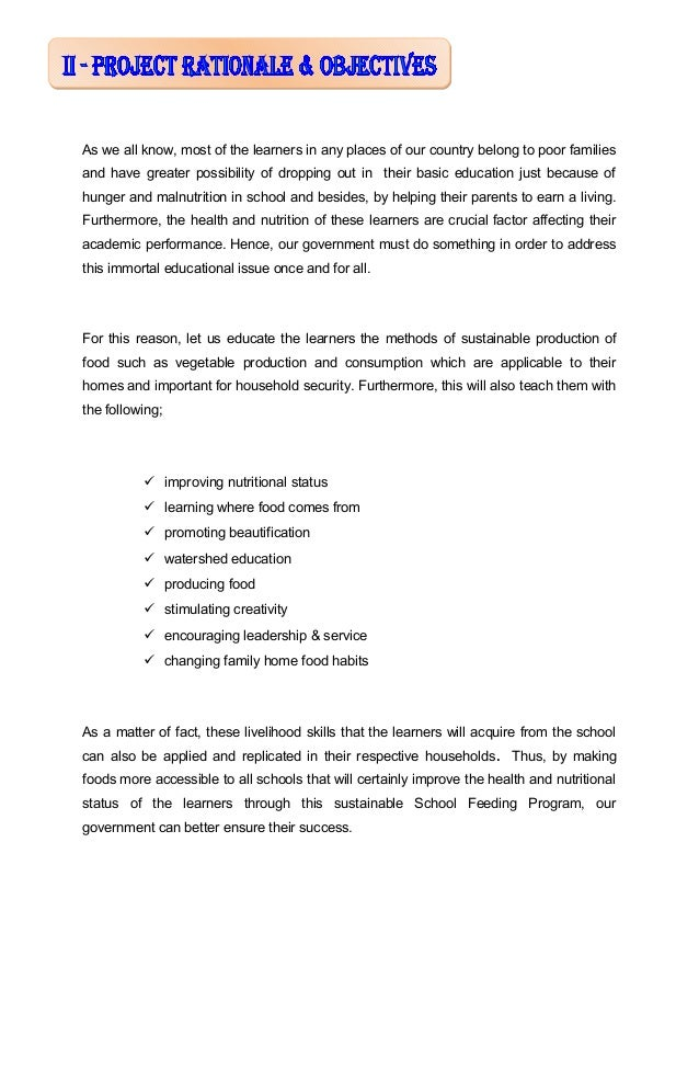 Sample thesis about feeding program