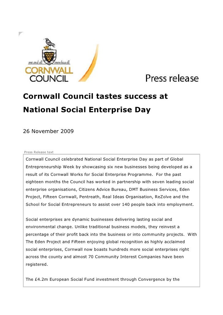Cornwall Council tastes success at National Social Enterprise Day  26 November 2009   Press Release text  Cornwall Council...