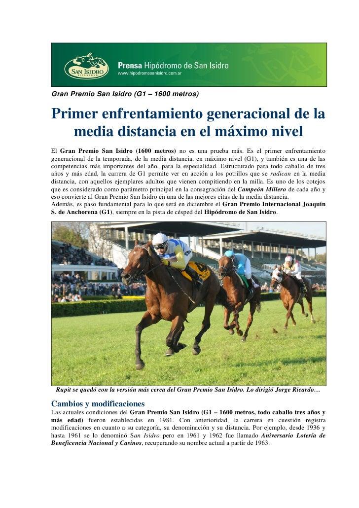 Gran Premio San Isidro (G1 – 1600 metros)Primer enfrentamiento generacional de la   media distancia en el máximo nivelEl G...