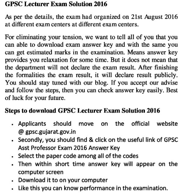 Gpsc asst professor 2016 exam answer key and lecturer jobs exam solution and result