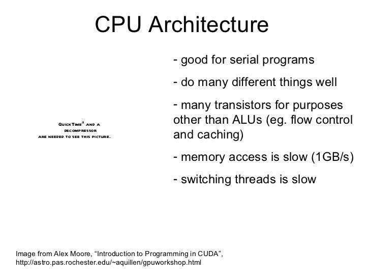CPU Architecture <ul><li>good for serial programs </li></ul><ul><li>do many different things well </li></ul><ul><li>many t...