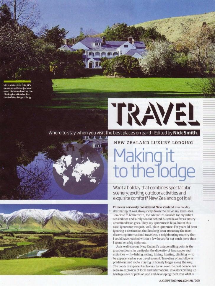Gentleman's Quarterly September 2010 - Otahuna Luxury Lodge New Zealand