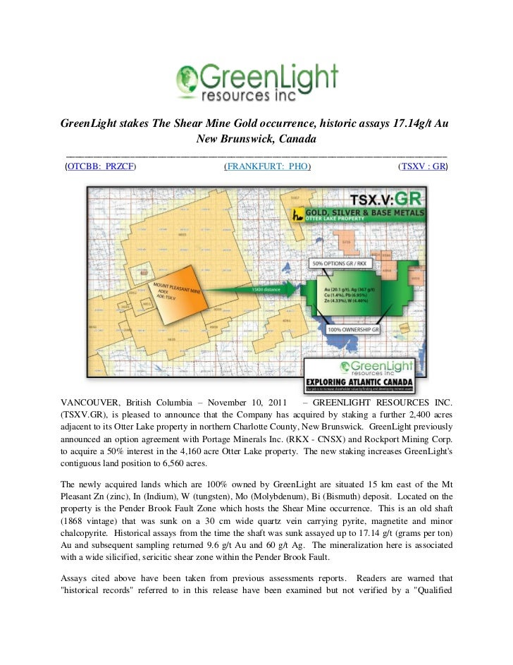 GreenLight stakes The Shear Mine Gold occurrence, historic assays 17.14g/t Au                          New Brunswick, Cana...