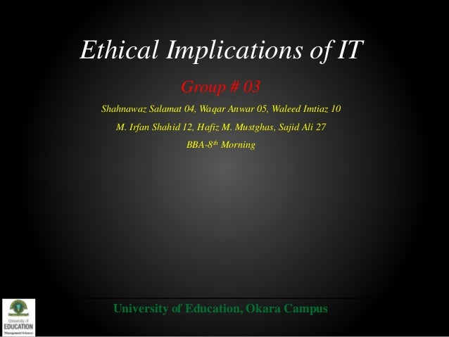 Ethical Implications of IT Group # 03 Shahnawaz Salamat 04, Waqar Anwar 05, Waleed Imtiaz 10 M. Irfan Shahid 12, Hafiz M. ...