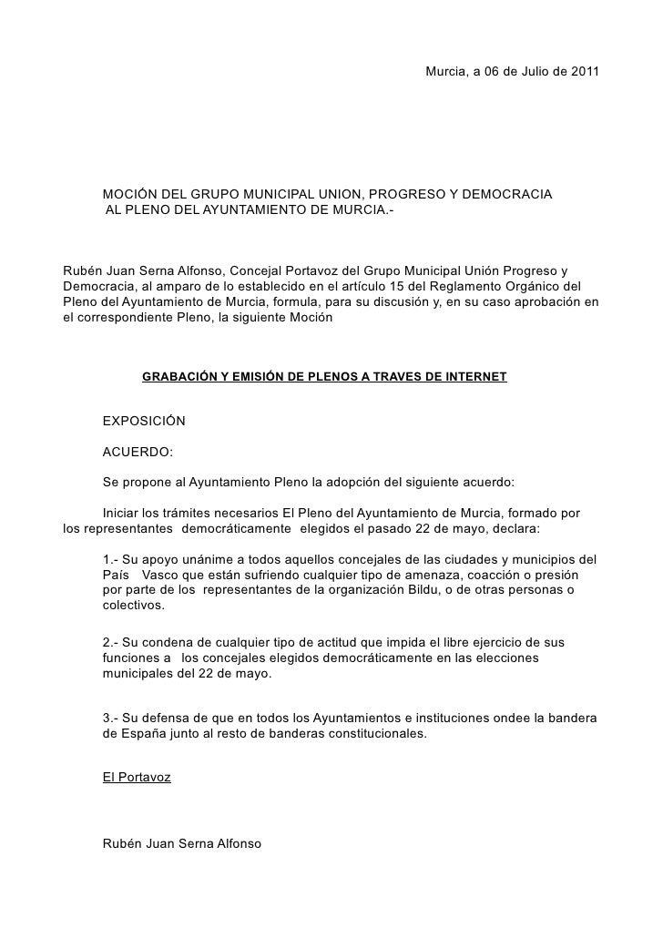 Moción presentada en el Pleno acerca de Grabación y emisión de plenos a través de internet