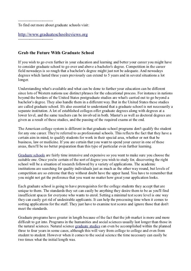Grab Your Future With Graduate School