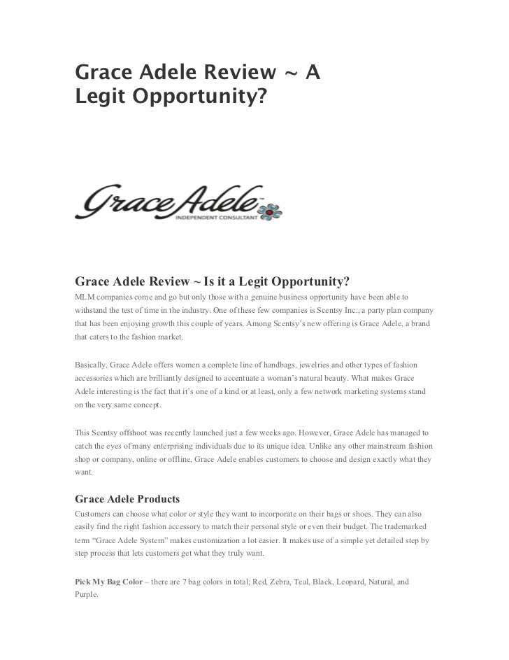 Grace Adele Review ~ ALegit Opportunity?Grace Adele Review ~ Is it a Legit Opportunity?MLM companies come and go but only ...