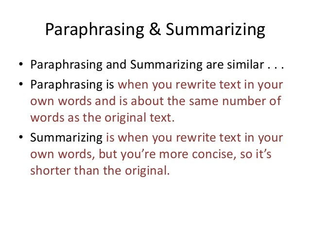 Paraphrasing summarizing and quoting