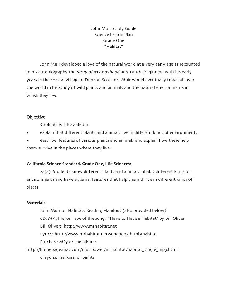 Have to Have a Habitat Grade One Science Lesson Plan John Muir Study Guide