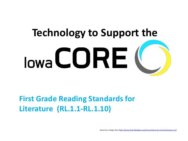 Technology to Support the First Grade Reading Standards for Literature (RL.1.1-RL.1.10) Iowa Core Image from http://www.he...