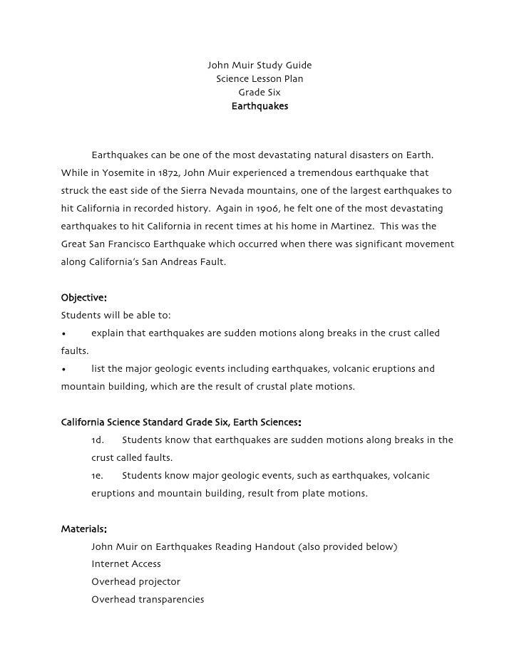 Earthquakes Grade Six Science Lesson Plan John Muir Study Guide