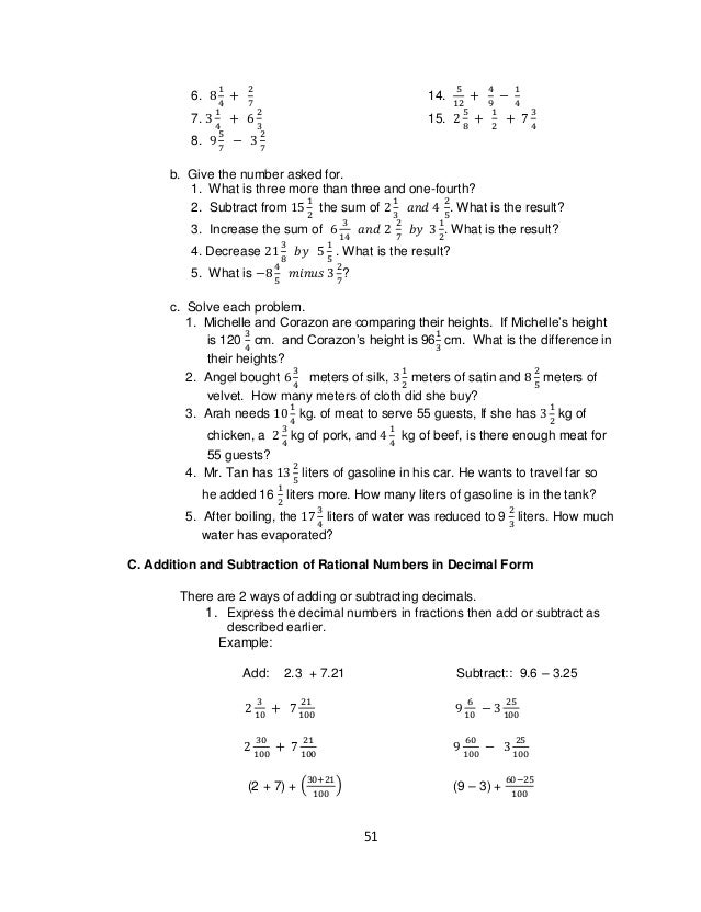 math worksheet : grade 7 learning materials in math : Moving Words Math Worksheet Answers
