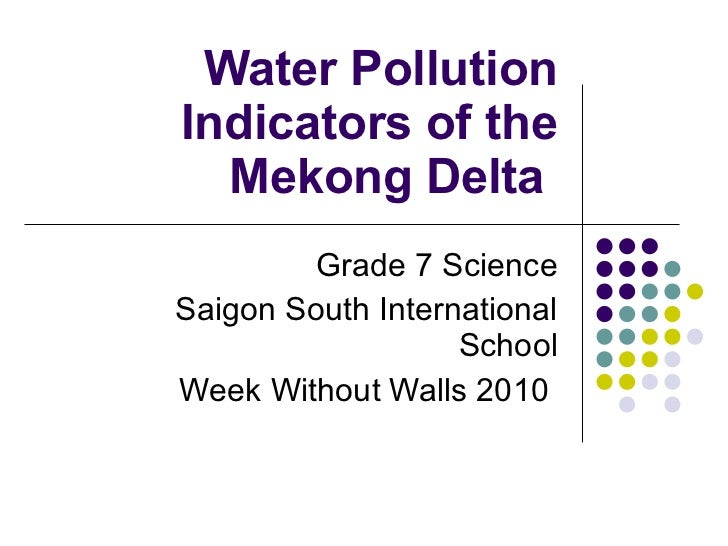 Water Pollution Indicators of the Mekong Delta  Grade 7 Science Saigon South International School Week Without Walls 2010