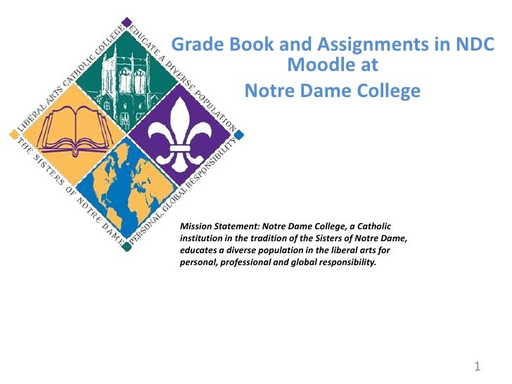 Grade Book and Assignments in NDC Moodle at<br />Notre Dame College<br />Mission Statement: Notre Dame College, a Catholic...