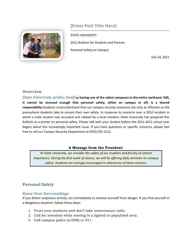 [Enter Post Title Here]                                  STATE UNIVERSITY                                  2011 Bulletin f...