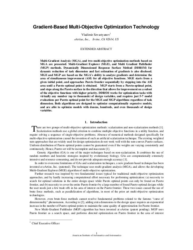 Gradient-Based Multi-Objective Optimization Technology                                             Vladimir Sevastyanov1  ...