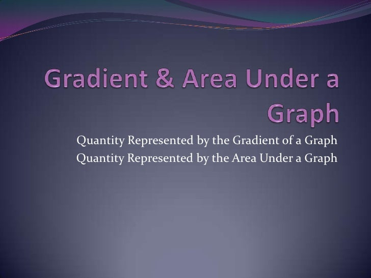 Gradient & Area Under a Graph<br />Quantity Represented by the Gradient of a Graph<br />Quantity Represented by the Area U...