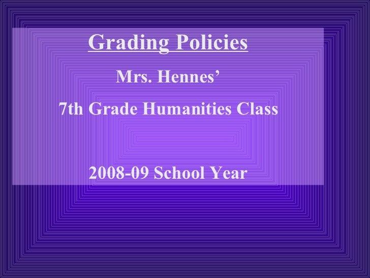 Grading Policies