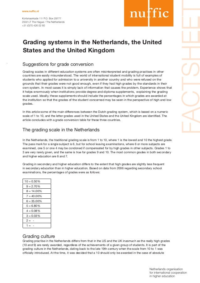 Grading systems in the Netherlands, the United States and the United Kingdom Suggestions for grade conversion Grading scal...