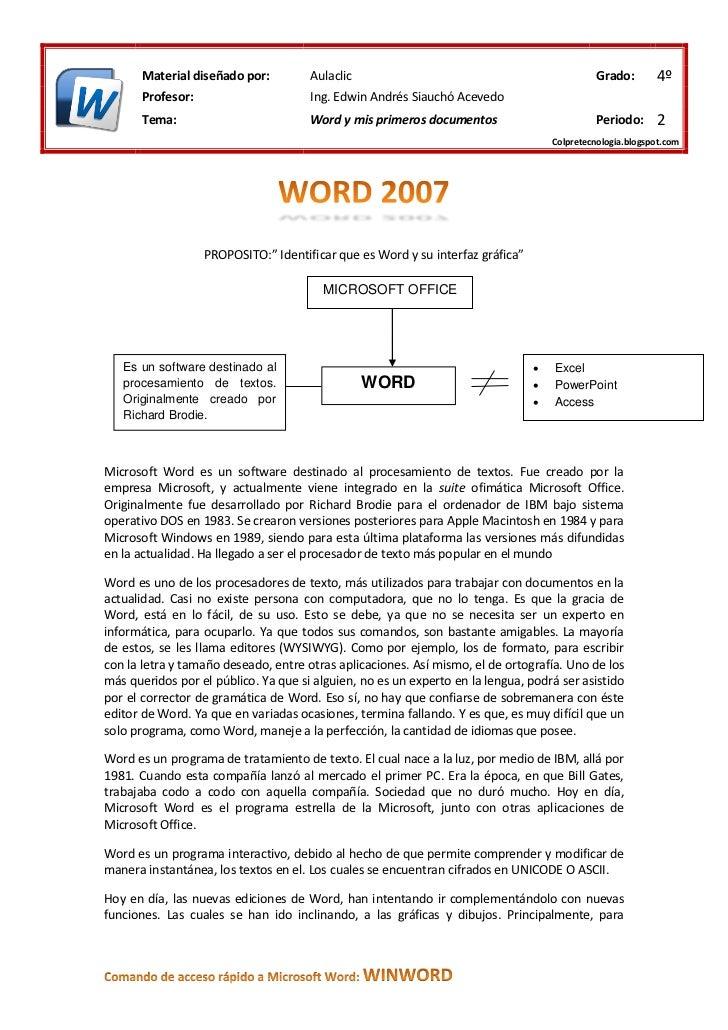 Material diseñado por:         Aulaclic                                                Grado:       4º       Profesor:    ...