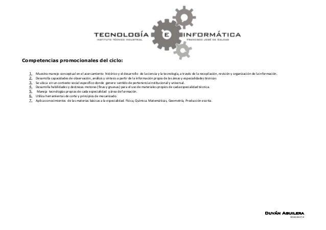 Competencias promocionales del ciclo:  1.   Muestra manejo conceptual en el acercamiento histórico y el desarrollo de la c...