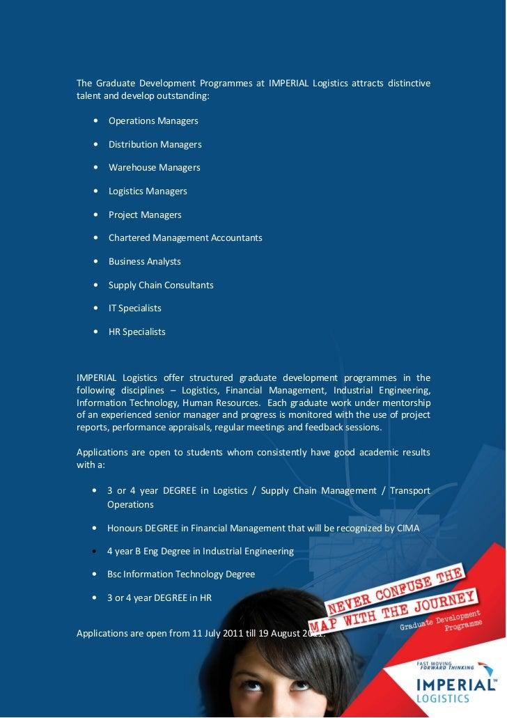 Graduate recruitment, imperial logistics