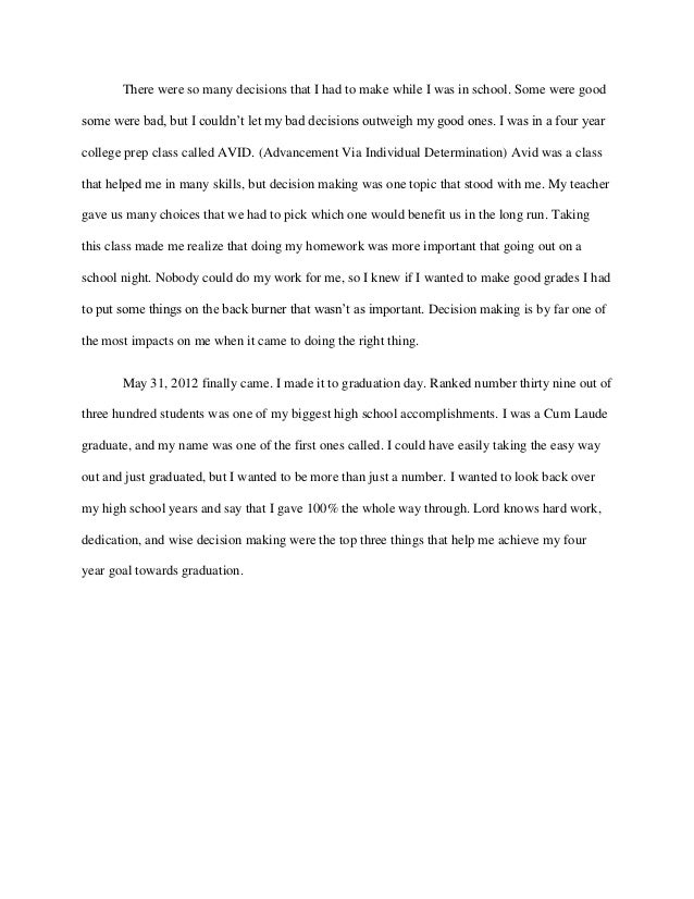 essay format examples for high school graduation narrative essay - Personal Narrative Essay Examples High School