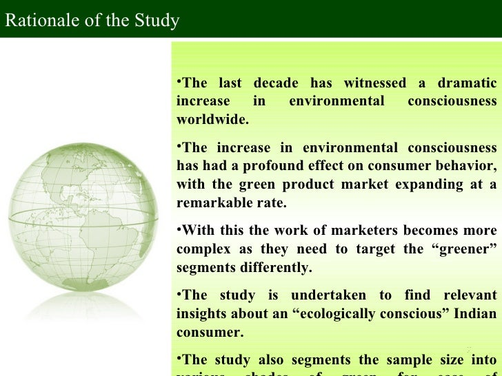 consumer behaviour rationale of the study