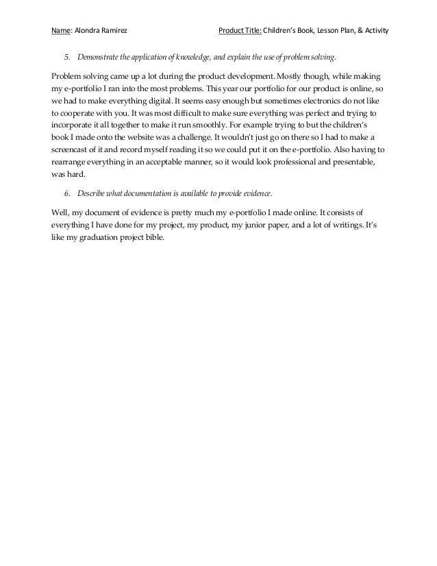 graduation project reflection essay