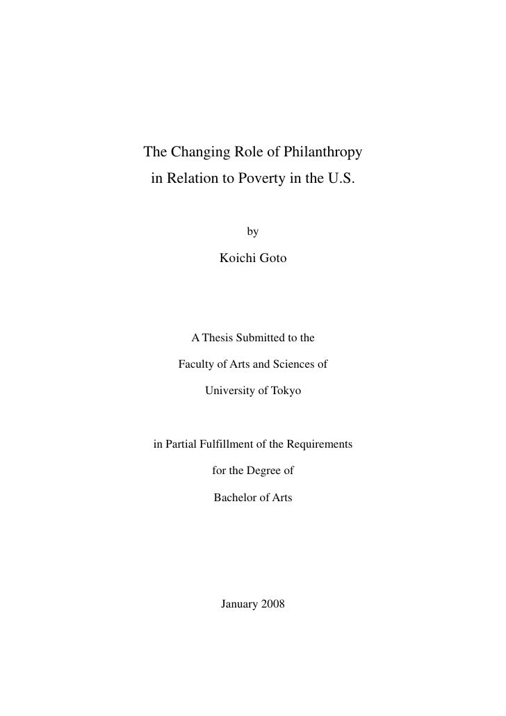 The Changing Role of Philanthropy  in Relation to Poverty in the U.S.                       by                Koichi Goto ...