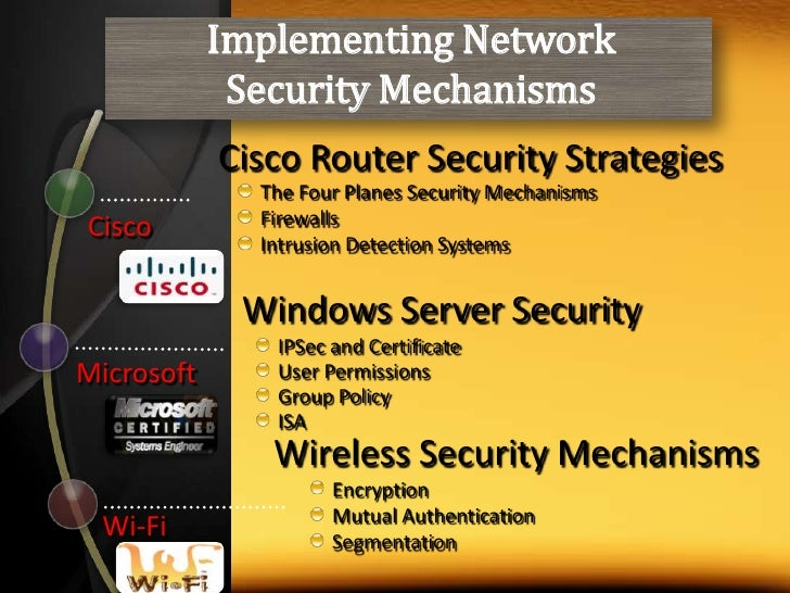 Implementing Network <br />Security Mechanisms<br />Cisco Router Security Strategies<br />The Four Planes Security Mechani...
