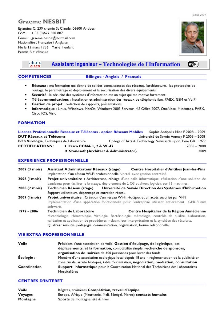 exemple cv francais informatique