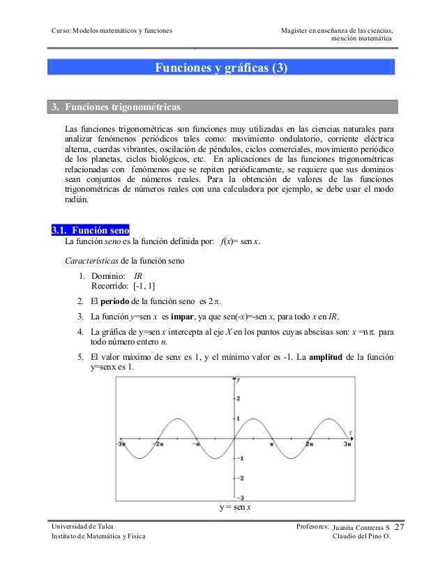 Curso: Modelos matemáticos y funciones  Magister en enseñanza de las ciencias,  mención matemática  Funciones y gráficas (...