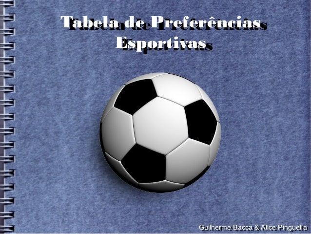 Tabela de PreferênciasTabela de Preferências      Esportivas      Esportivas              Guilherme Bacca & Alice Pinguell...