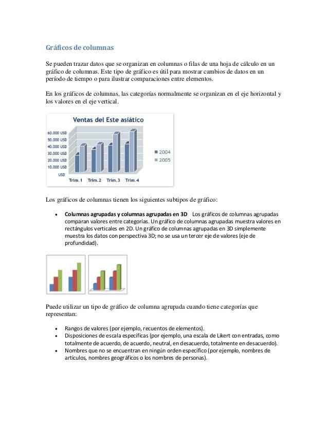 Gráficos de columnas Se pueden trazar datos que se organizan en columnas o filas de una hoja de cálculo en un gráfico de c...