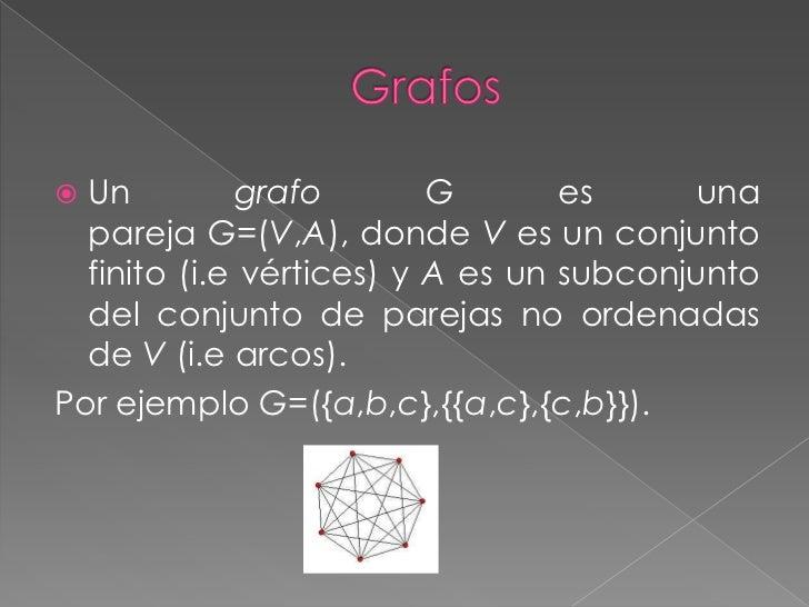  Un         grafo        G       es      una  pareja G=(V,A), donde V es un conjunto  finito (i.e vértices) y A es un sub...