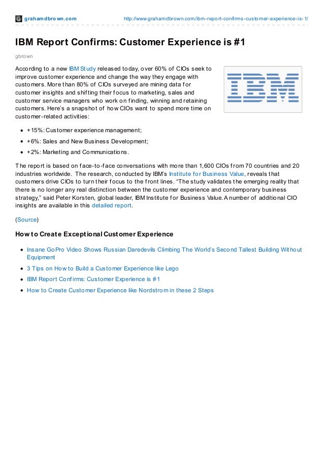 grahamdbrown.com http://www.grahamdbrown.com/ibm-report-confirms-customer-experience-is-1/ gbrown IBM Report Confirms: Cus...