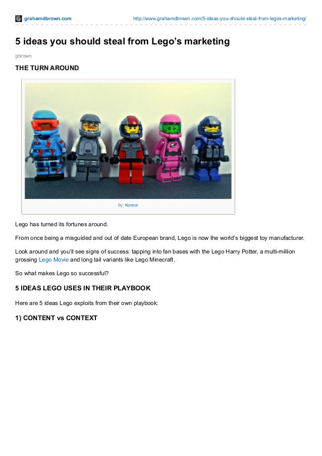 (GrahamDBrown) 5 ideas you should steal from Lego's marketing