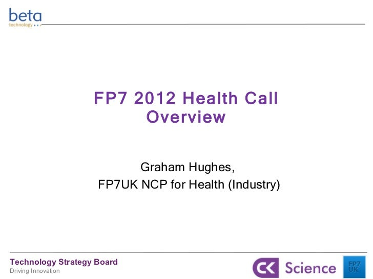 FP7 2012 Health Call Overview Graham Hughes,  FP7UK NCP for Health (Industry)