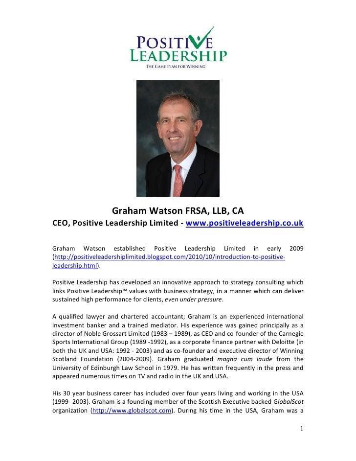 Graham Watson FRSA, LLB, CACEO, Positive Leadership Limited - www.positiveleadership.co.ukGraham Watson established Positi...