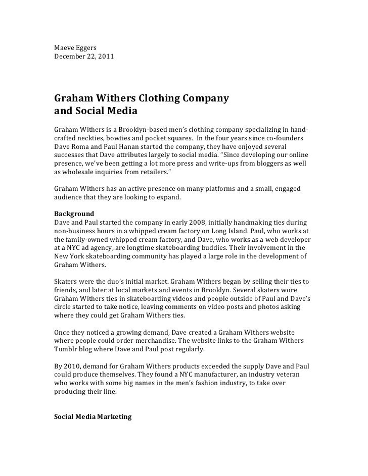Social Media Case Study: Graham Withers Clothing Company