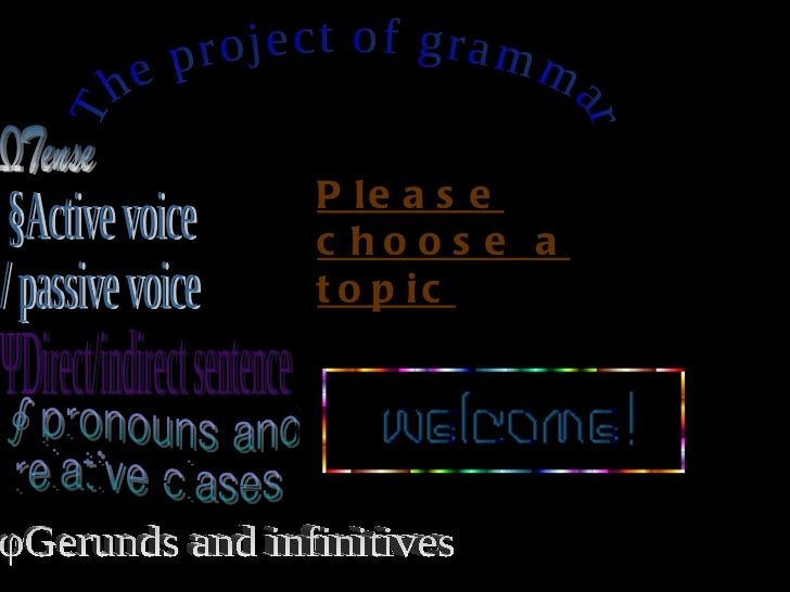 ☆The project of grammar☆ ΩTense ΨDirect/indirect sentence §Active voice  / passive voice ∮pronouns and relative clases φGe...