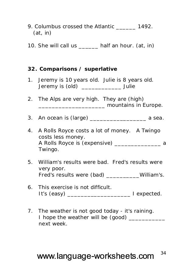Free english worksheets for 13 year olds