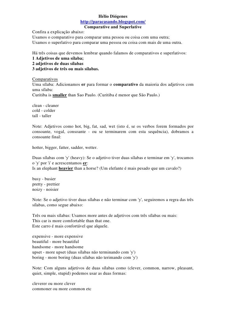 Grammar Comparative and Superlative