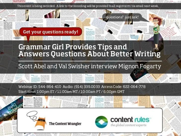 Grammar Girl Web Discussion - February 9, 2012