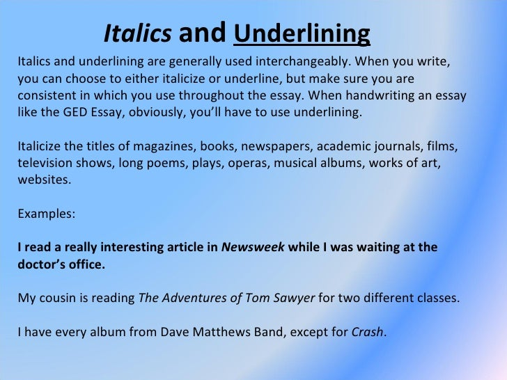 do you italicize thoughts in an essay Mla in-text citations use the name of the author and the title of the essay in the text titles of film and recording titles should be underlined or put into italics a song's title would be placed in double quotations, however ex.