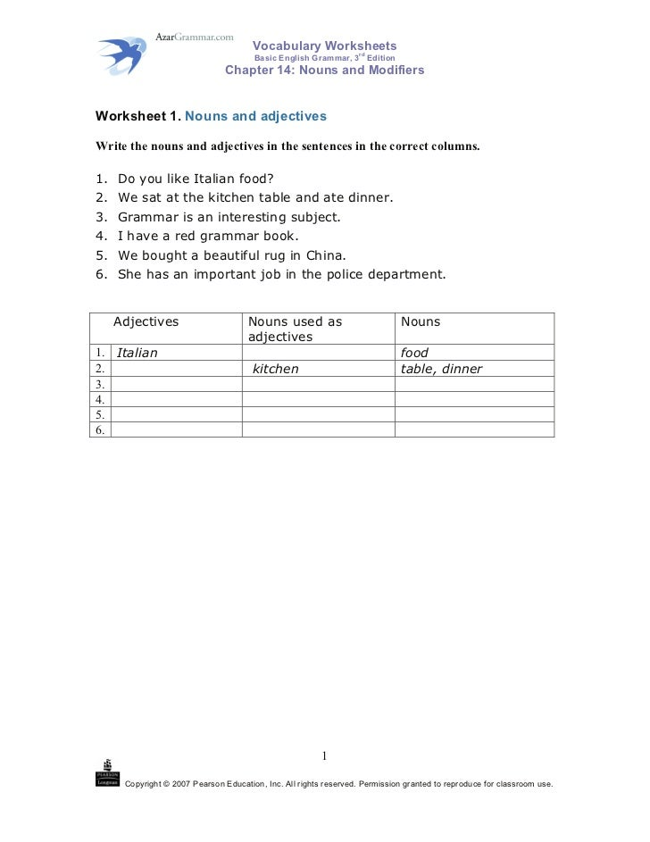 Vocabulary Worksheets       rd                                       Basic English Grammar, 3 Edition                     ...