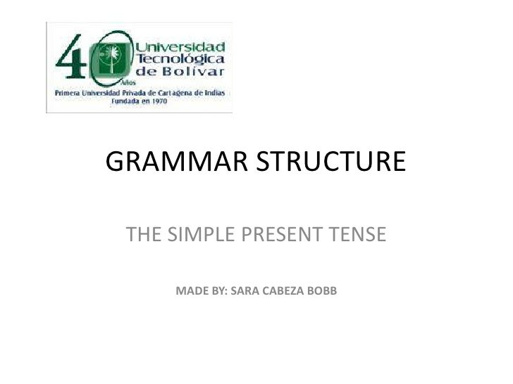 GRAMMAR STRUCTURE<br />THE SIMPLE PRESENT TENSE<br />MADE BY: SARA CABEZA BOBB<br />