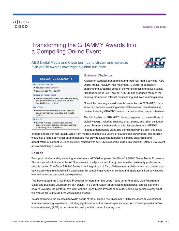 AEG and GRAMMY Case Study